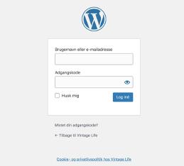 Billedet viser loginskærmen til administrationsdelen af din wordpress installation
